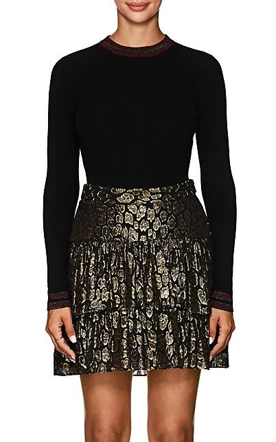 A.L.C Tenney Stripe-Detailed Wool-Blend Sweater In Black