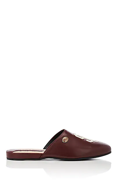 Gucci Sf Giants&Trade; Leather Slippers In Wine
