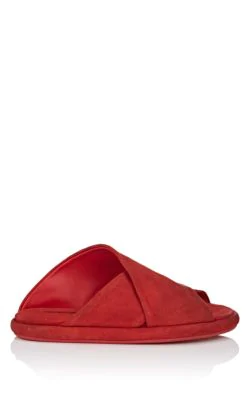 MarsÈLl Crisscross-Strap Suede Slide Sandals In Red