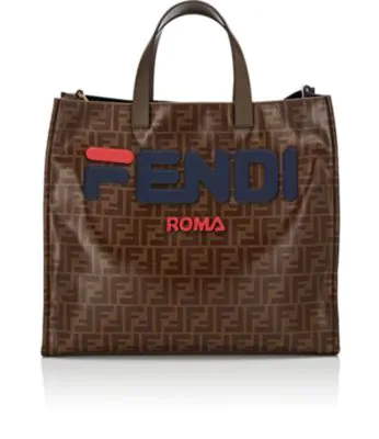Fendi Shopping Small Coated Canvas Tote Bag - Tabacco In Blue  70736d6487f2c