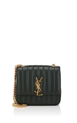 f883ff655c0 Saint Laurent Monogram Vicky Medium Leather Chain Bag - Green | ModeSens