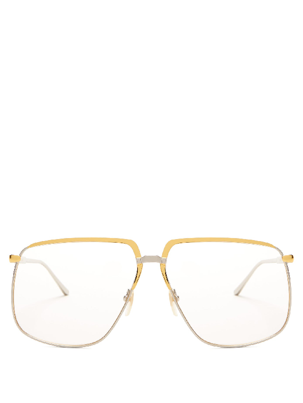 Gucci Oversized Metal Glasses In Gold