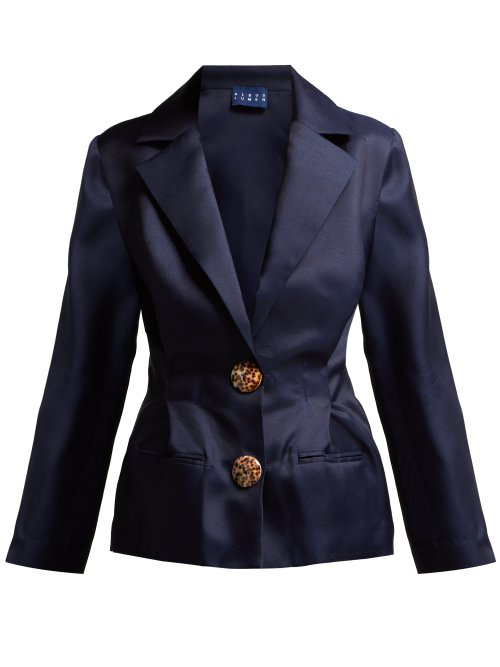 1d0f3093418596 Albus Lumen - Lujo Pleated Silk Organza Blazer - Womens - Navy ...