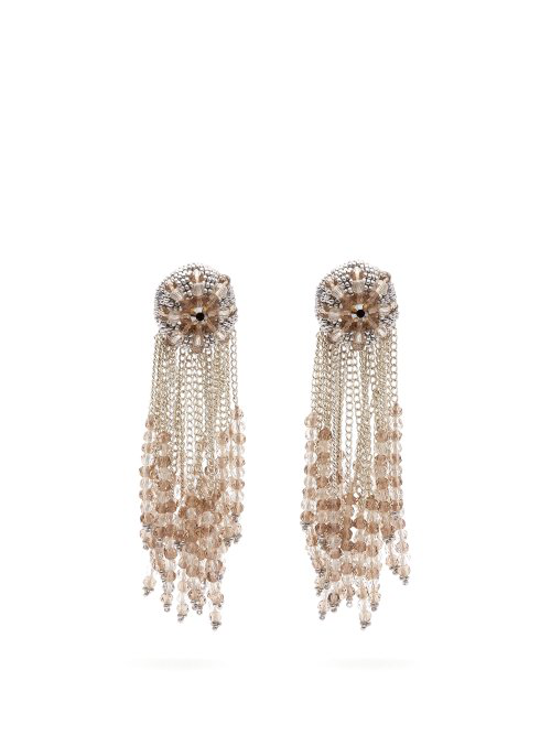 Oscar De La Renta Fringed Beaded Clip Earrings In Silver