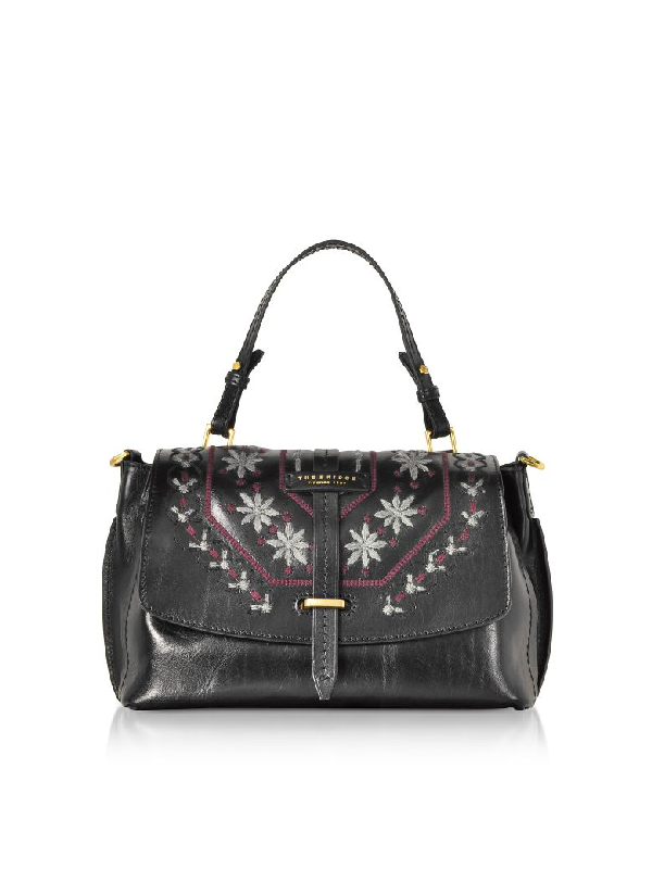 The Bridge Fiesole Embroidered Leather Satchel Bag In Black