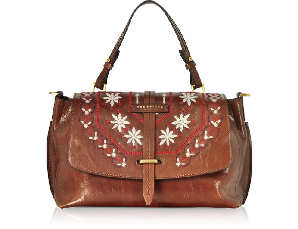 The Bridge Fiesole Embroidered Leather Satchel Bag In Brown