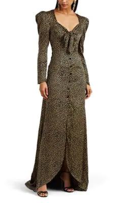 bb40402e856d Rebecca De Ravenel Cheetah-Print Silk Satin Tie-Front Gown - Leopard ...