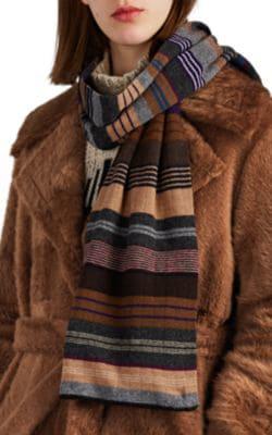 Diane De Clercq Striped Cashmere-Wool Scarf In Grey