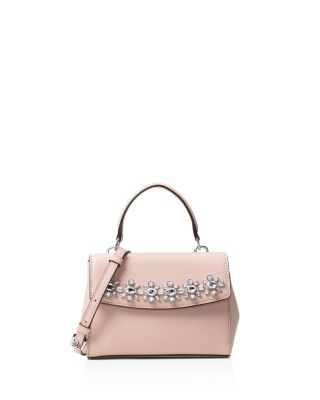 a2ef5c7405a296 Michael Michael Kors Ava Extra-Small Crystal-Embellished Leather Crossbody  In Ballet