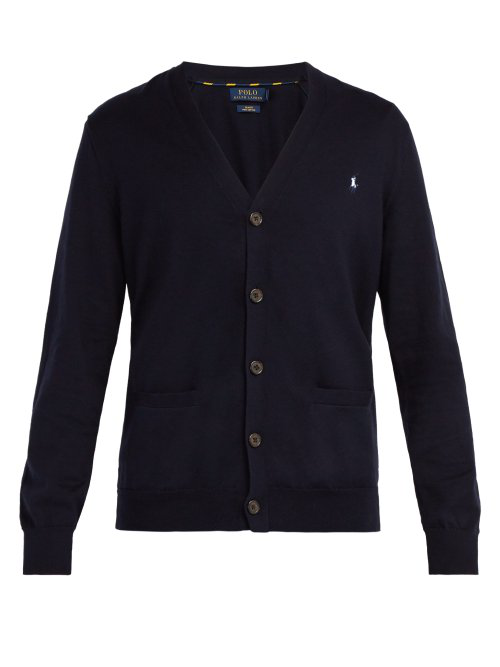 Polo Ralph Lauren Logo-Embroidered Cardigan In Navy