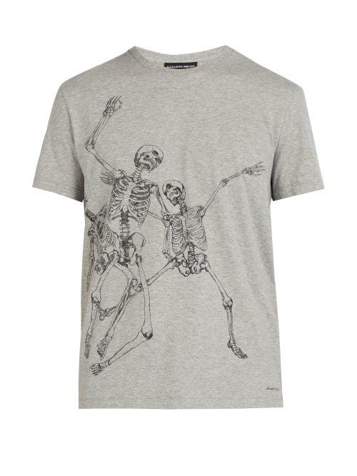 Alexander Mcqueen Skeleton-Print Cotton-Jersey T-Shirt In Grey