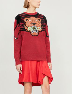 614543500 Kenzo Womens Medium Red Stripe Claw Tiger Knitted Jumper   ModeSens