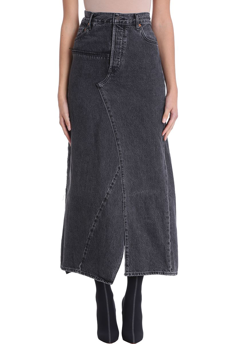 Vetements Levi's X  Patchwork Denim Skirt In Black
