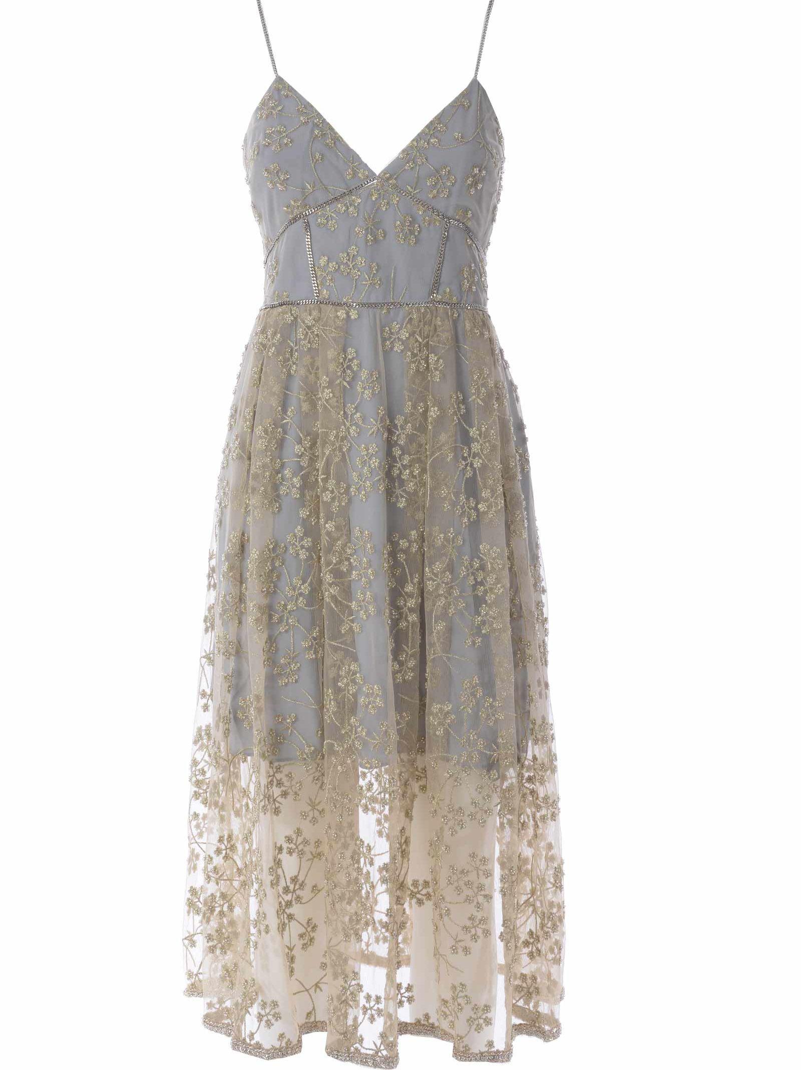 c42d4cdcd3c Self-Portrait Floral Embroidered Mesh Midi Dress In Polvere Oro ...