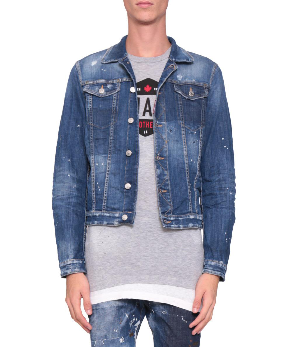 Dsquared2 Cropped Cotton Denim Jacket In Blu