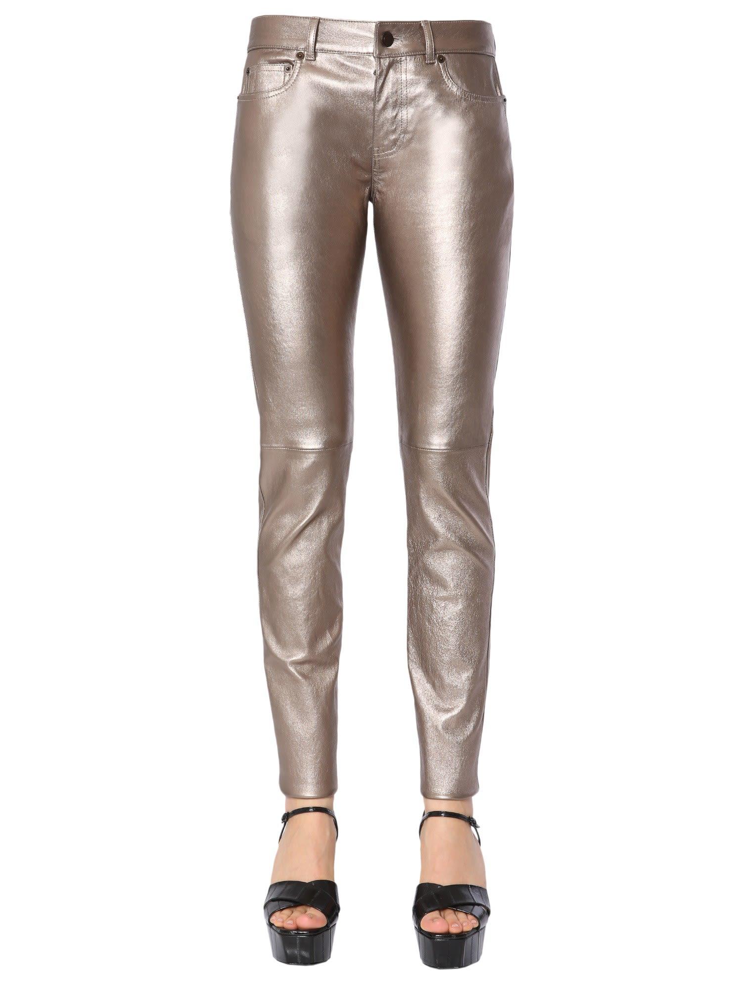 1e164438c1d Saint Laurent Skinny Low Waist Trousers In Oro | ModeSens