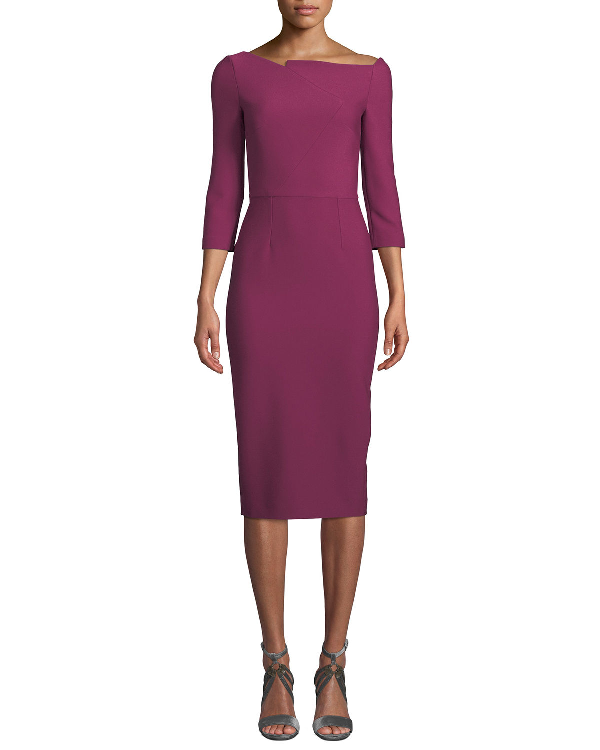 a0d0d518bed0b0 Roland Mouret Witham 3/4-Sleeve Asymmetric Boat-Neck Dress In Bright Pink