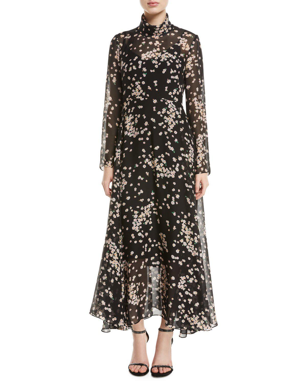 4baa9c89df101 Camilla And Marc Gardin Turtleneck Long-Sleeve Floral-Print Dress In Black