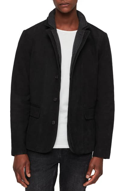 Allsaints Survey Classic Fit Layered-collar Leather Blazer In Washed Black