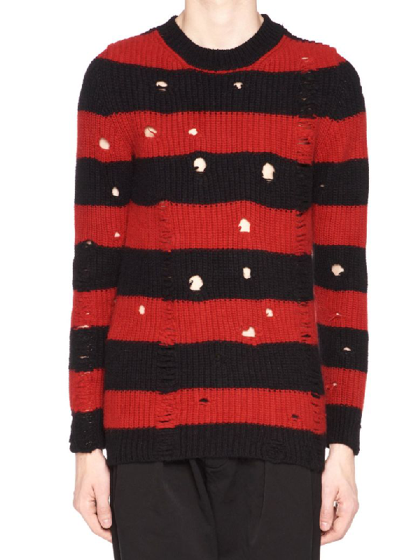 Overcome Wool Blend Striped Distressed Sweater In Multicolor