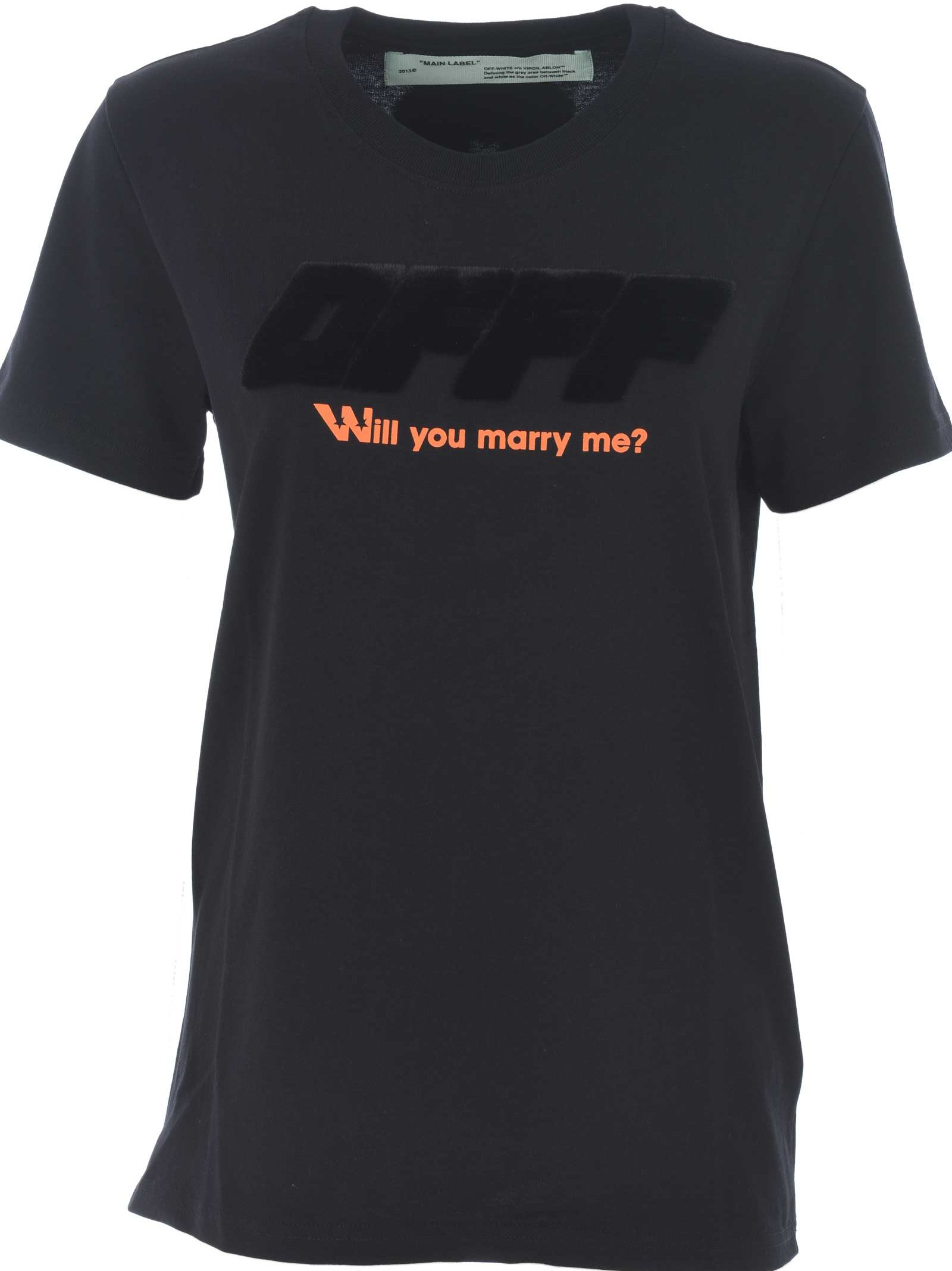 cfd846363dd2 Off-White Will You Marry Me  T-Shirt In Nero