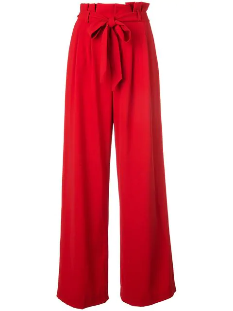 Alice And Olivia Farrel Paperbag-Waist Pleated Pants In Red