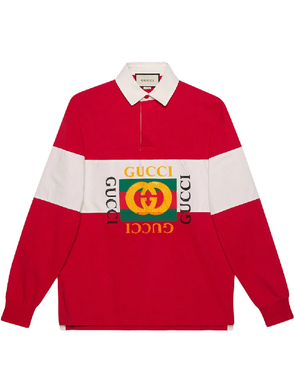 6cc59010 Gucci Logo-Print Striped Loopback Cotton-Jersey Rugby Shirt - Red In 6068  Rosso