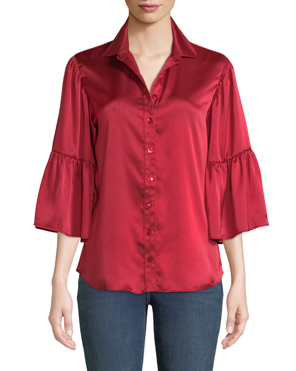 563a0dc3 Finley Naomi Satin Button-Front Shirt In Red | ModeSens