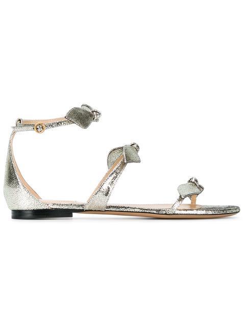 02e20826dae2b7 ChloÉ Mike Bow Metallic Flat Sandal