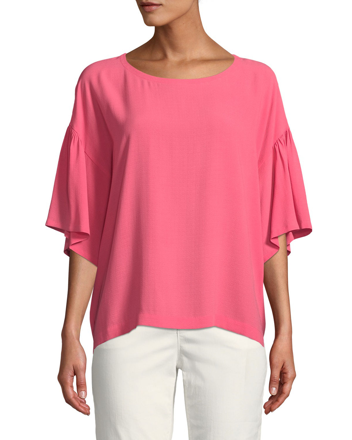 80a0b9fc Eileen Fisher Plus Size Scoop-Neck Elbow-Sleeve Silk Crepe Top In Cherry  Lane
