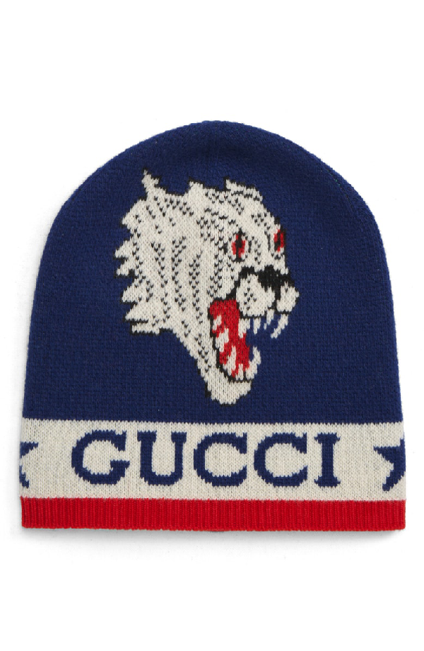 007ea0258d27c Gucci Men s Aderfull Wool Kingsnake   Panther Beanie Hat In Red Multi