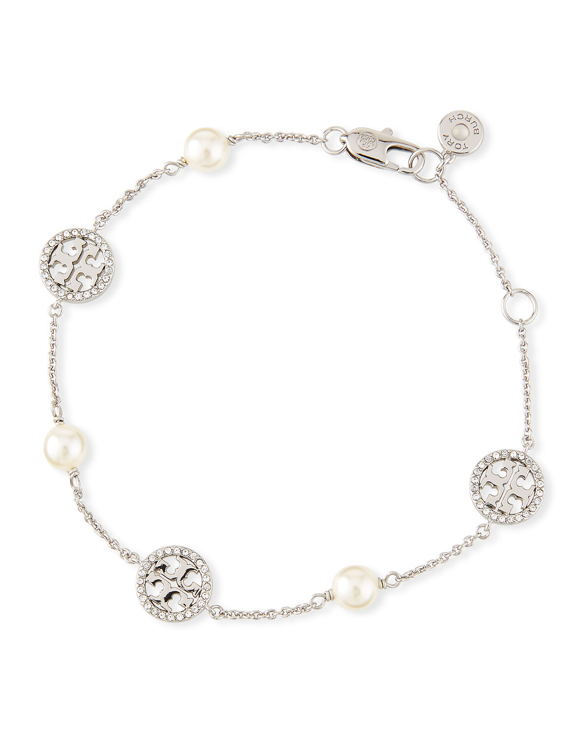 cd6a1994ca0775 Tory Burch Crystal & Pearly Delicate Logo Bracelet In Silver | ModeSens