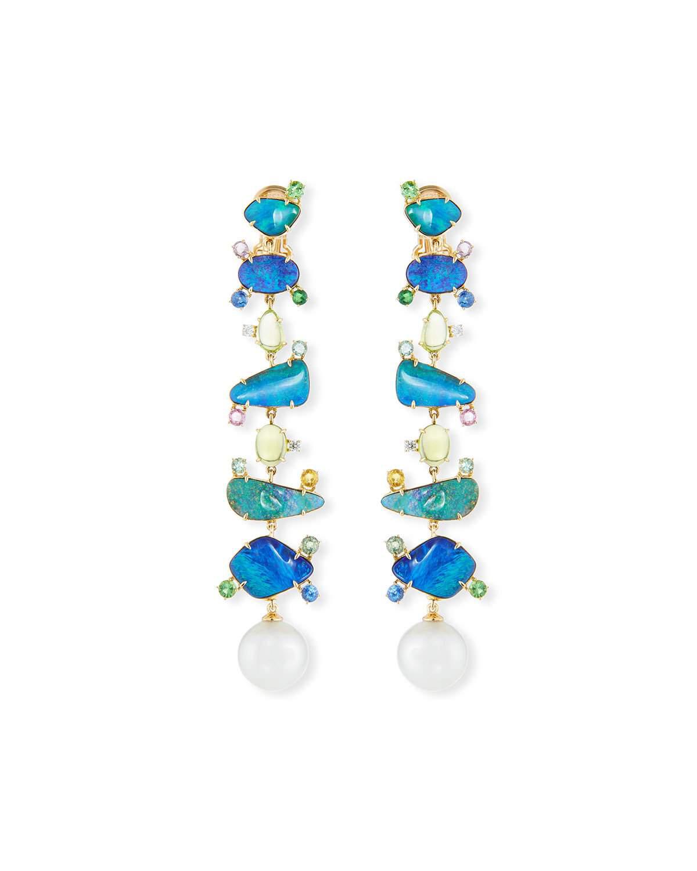 5508d1b7b Margot Mckinney Jewelry 18K Pearl, Opal & Mixed Stone Drop Earrings ...