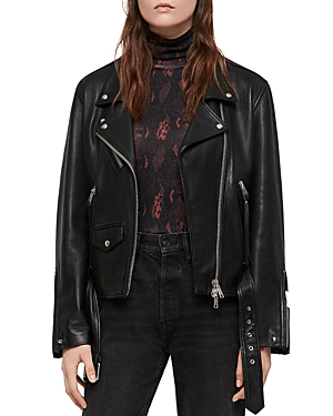 Allsaints Billie Leather Biker Jacket In Black