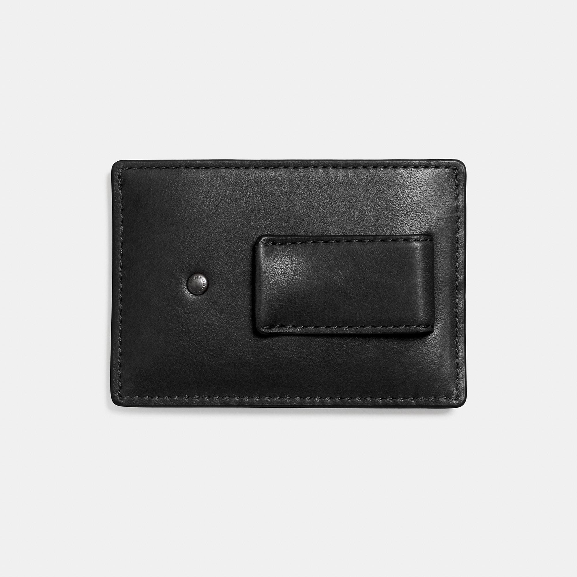a8f631e2 Money Clip Card Case In Sport Calf Leather in Black