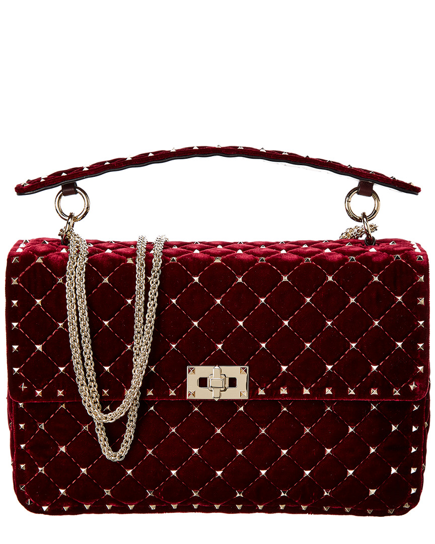 63a48f423d0 Valentino Rockstud Spike Quilted Velvet Shoulder Bag In Red | ModeSens
