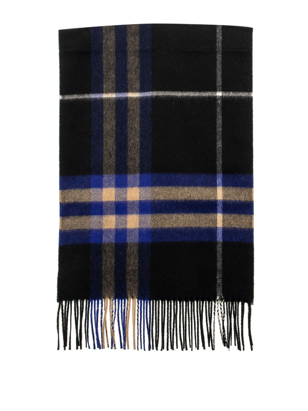 Burberry Cashmere Giant Check Scarf In Blue
