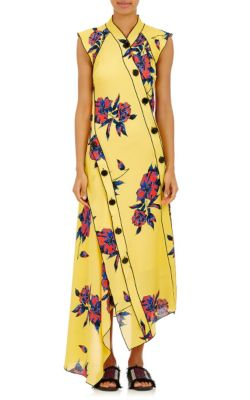 Proenza Schouler Women's Long Lily Print Asymmetric Frilled Dress In Yellow In Canary-Yellow