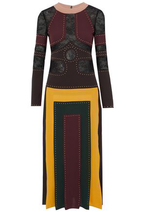 Valentino Woman Lace-Paneled Pleated Studded Silk Crepe De Chine Midi Dress Multicolor