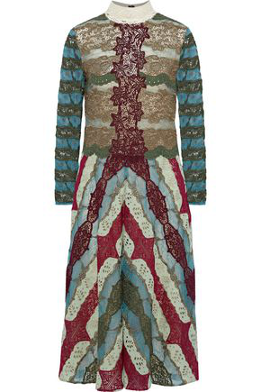 Valentino Woman Metallic Guipure Lace, Broderie Anglaise And Tulle Silk-Blend Dress Multicolor