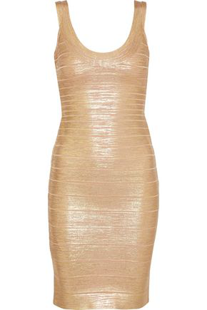 Herve Leger HervÉ LÉGer Woman Catherine Metallic Coated Bandage Mini Dress Gold