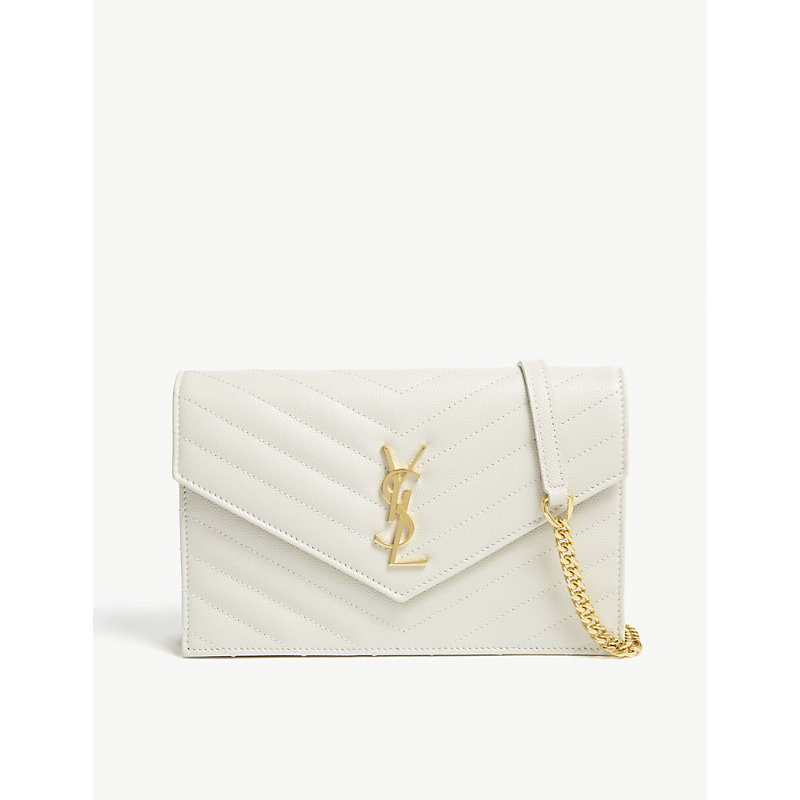 47aa5deaeceb Saint Laurent Monogram Quilted Leather Wallet-On-Chain In Cream ...