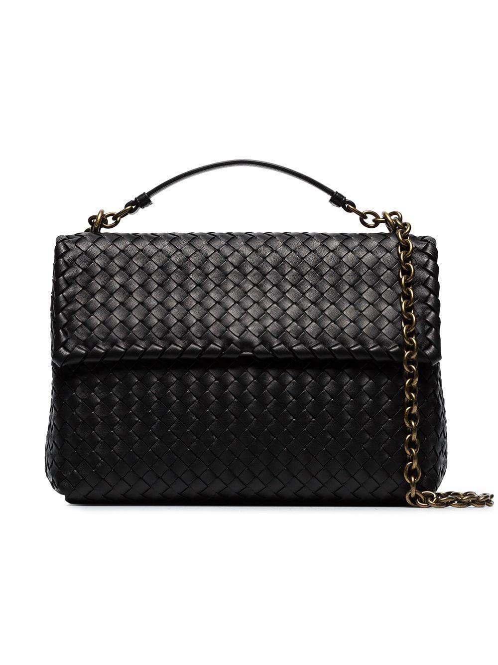 4e5b01aaa677 BOTTEGA VENETA. Bottega Veneta Black Olympia Intrecciato Leather Shoulder  Bag