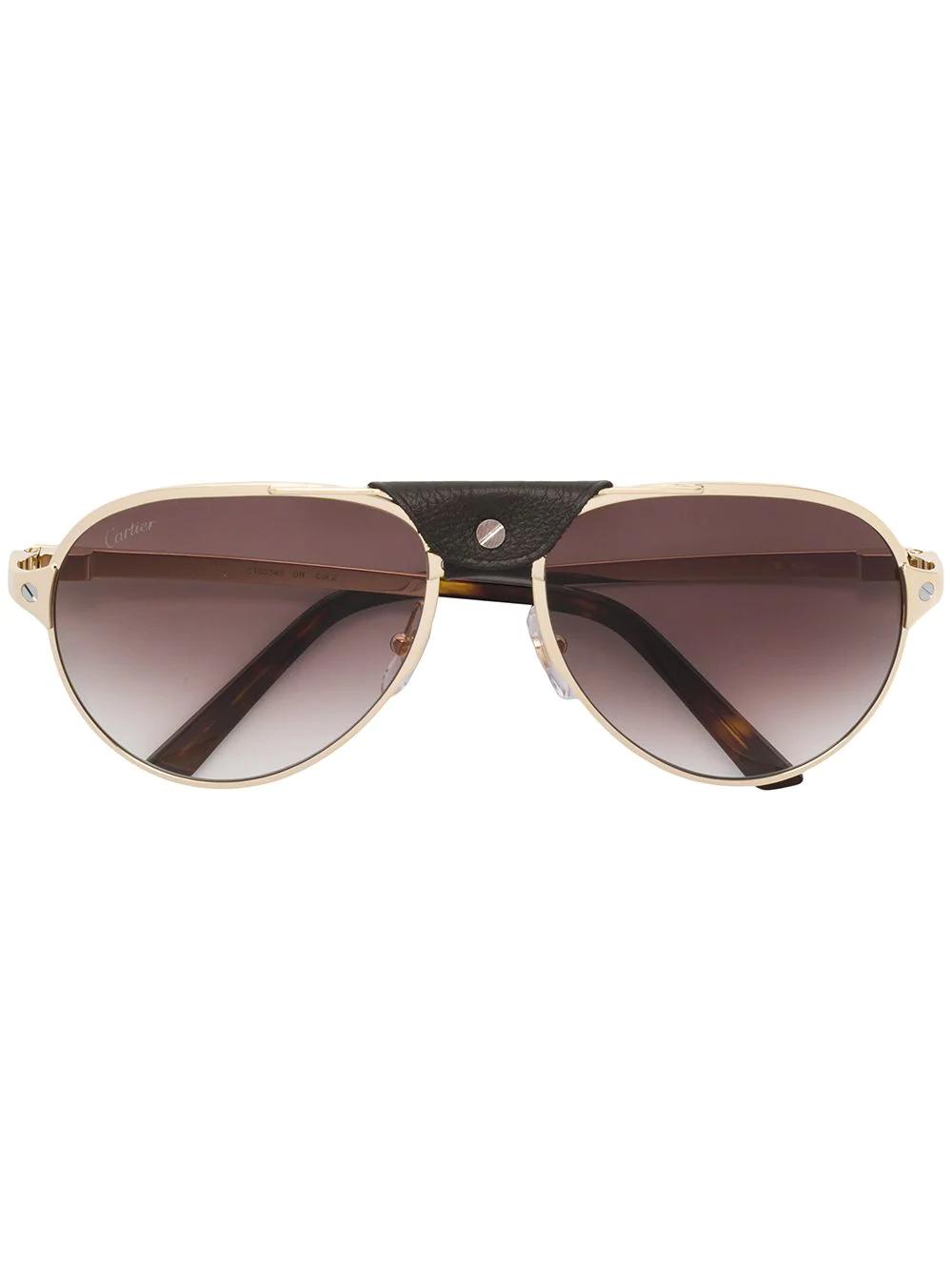 8e6d7558200e Cartier Santos De Sunglasses - Gold. Farfetch