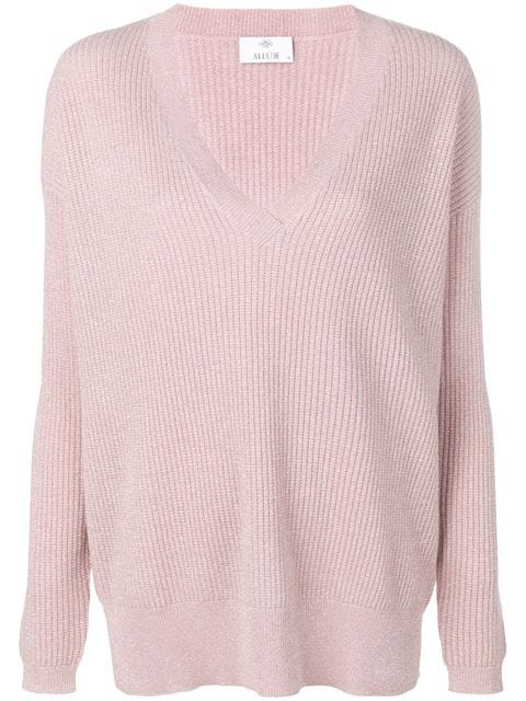 Allude Long-sleeve Fitted Sweater In Pink