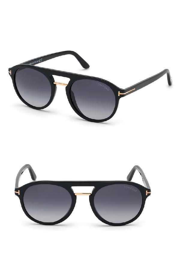 f175e5749d4 Tom Ford Ivan 54Mm Polarized Aviator Sunglasses - Shiny Black  Gradient Blue