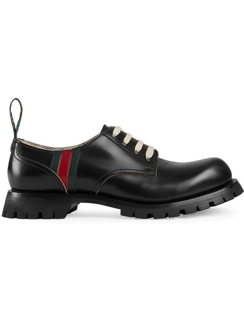 Gucci Leather Lace-Up With Web In Black