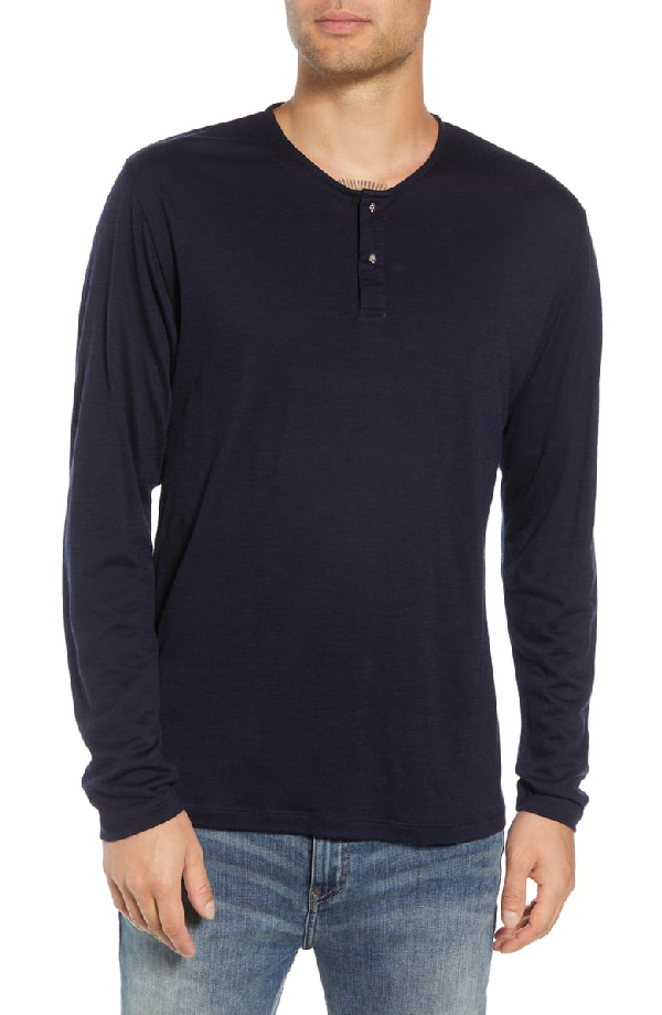 de85c3b799f The Kooples Skull Head Wool Henley T-Shirt In Navy | ModeSens