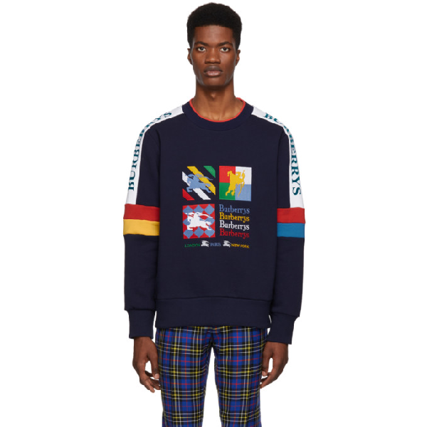 0a70e3810 Burberry Colour Block Embroidered Archive Logo Sweatshirt In True Navy