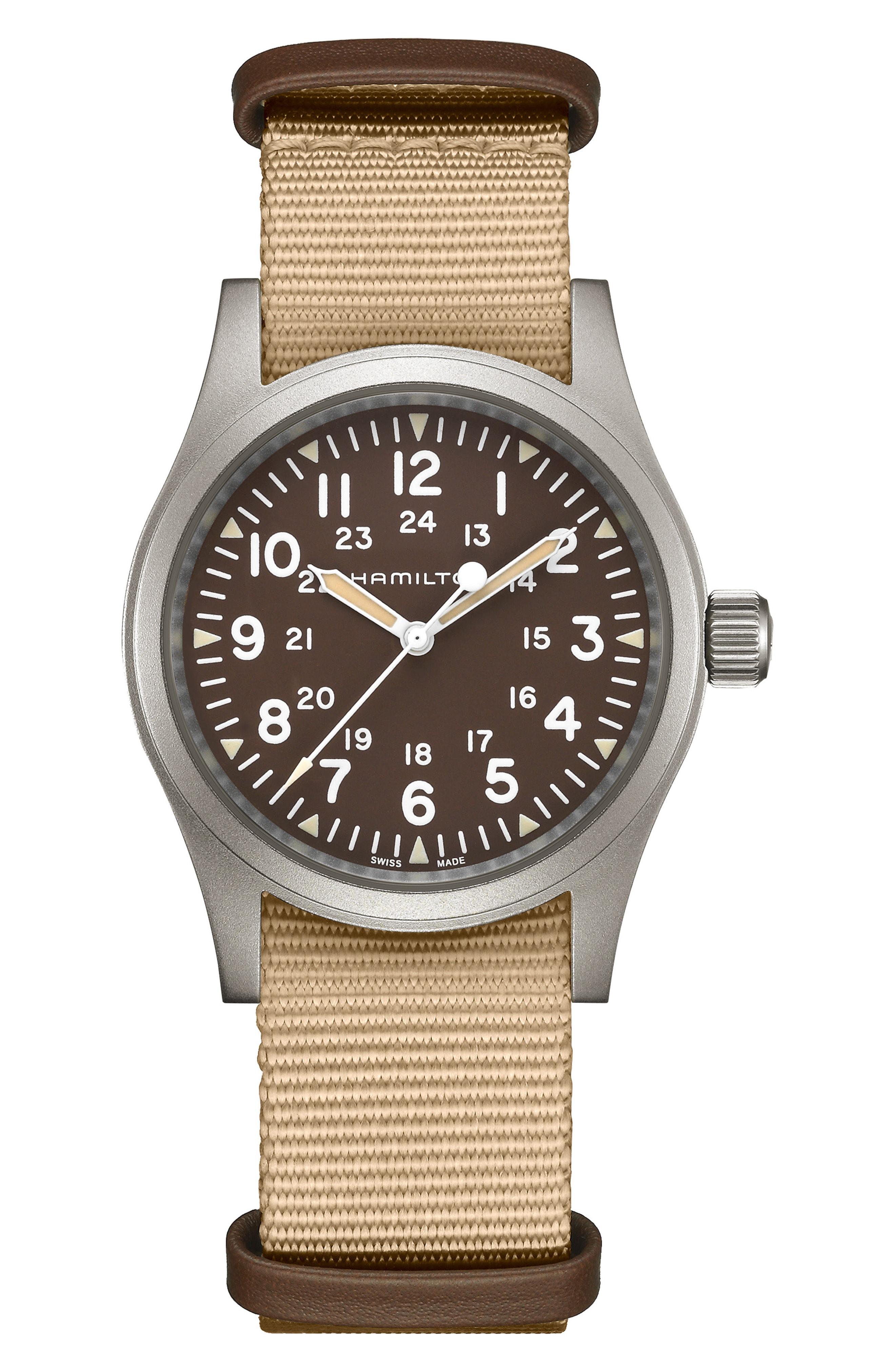 Hamilton Khaki Field Mechanical Nato Strap Watch 38mm In Beige